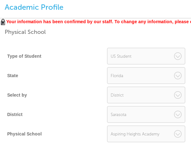 Screenshot of Physical School section of Academic Profile