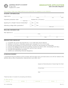 Graduation Application and Diploma Request Form