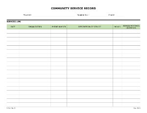 Community Service Record (Mulitiple Organizations)