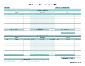 High School Course Planner and Grade / Credit Tracker